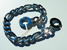 Bracelet Gourmette 23 cm Acier Inoxydable Maille Figaro 3 + 1 Large 9 mm Argenté