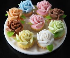 DOLLHOUSE MINIATURES SET OF 9 ROSE CUPCAKES ON TRAY FOOD SWEET WEDDING DECO