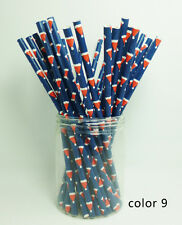 25 Paper Straws Festival Pattern Drinking Straw For Halloween Christmas Color 9