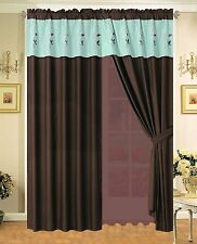 Floral Embroidered Curtain Set Brown, Teal - Sage, White