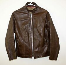 Schott 70s Vintage Brown Leather Cafe Racer Motorcycle Jacket Mens XXS Wm S ~36