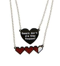 Blackheart GAMERS DON'T DIE THEY RESPAWN LAYER PENDANT NECKLACE SET New