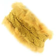 Winter Faux Fake Furry Fur Knit Elastic Headwrap Headband Head wrap Ski Mustard