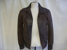 "Ladies Leather Jacket KAOS size 36 length 22"" brown zip pockets nice lining 1871"
