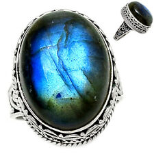 Peacock Blue Labradorite 925 Sterling Silver Ring Jewelry s.7 BFLR1380