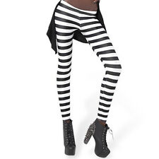 2016 Fashion Elastic Black White Striped Leggings Women trousers Clothings Hot