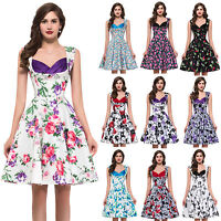 Floral Print Vintage Style 50s Dress Swing Pinup JIve Housewife Dress
