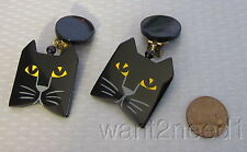 Marie Christine PAVONE BLACK CAT EARRINGS dangly clip France handmade galalith
