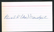 Edward Doc Marsahall (d. 1999) signed auto 3x5 index card Baseball Player H4540