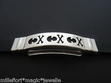 """Black Silicone Rubber Bracelet Wristband ~ Stainless Steel Skull Design 6"""" to 8"""""""
