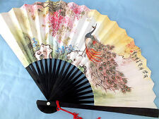 CHINESE PEACOCK BIRD WHITE BLACK PAPER HAND FAN JAPANESE BIRTHDAY NEW YEAR PARTY