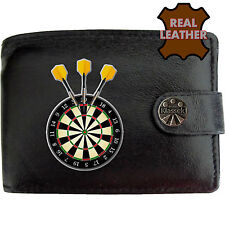Mens Leather Wallet New Darts Dartboard Player Printed Picture Dads Man Fun Gift