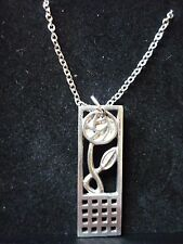 """Mackintosh Rose & Square Pewter On 20"""" Silver Plated Curb Chain Necklace cw21"""
