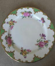 Vintage 1930's Aynsley Bone China Wilton Green Plate Gold Trim England Marked