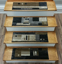 "Rug Depot 13 Contemporary Carpet Stair Treads 26"" x 9"" Staircase Rugs Multi Poly"