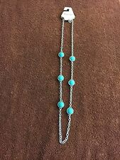 Trifari Silver and Turquoise Fashion Necklace  - New with Tags