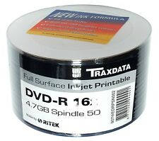 50 BLANK DVD-R RITEK DVD DISCS SPINDLE PACK FULL INKJET PRINTABLE 16X 4.7GB DVDs