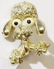 broche vintage petit chien caniche relief couleur or poli * 4990