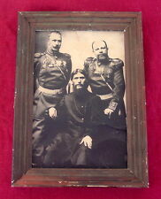 Antique Russian Portrait Grigori Rasputin and Generals, Tsar Nicholas II Romanov