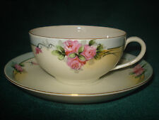 VNTG HAND PAINTED NIPPON VICTORIAN CABBAGE ROSE DESIGN W/ GOLD TRIM CUP & SAUCER