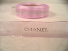 "Chanel purple sheer organza ribbon by the yard silver logo gift wrapping 5/16"" w"