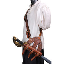 New Brown Leather Pirate Baldric.Belt, LARP,Theater,Steampunk,COSPLAY