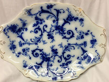 "RIDGWAYS ENGLAND GAINSBOROUGH OVAL SERVING PLATTER 16 1/4"" FLOW BLUE GOLD"