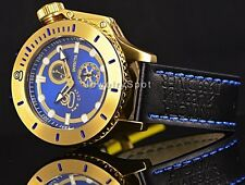 Invicta Russian Diver Anchor Hand Blk Leather 18k Gold IonPlated Blue Dial Watch