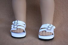 Doll Clothes fitting 18 in American Girl White Leather Euro Sandals with Buckles
