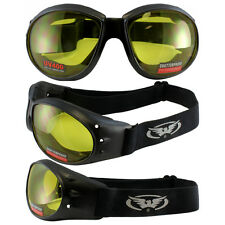 Eliminator Black Frame Motorcycle Goggles with Yellow Shatterproof Lenses