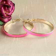 E13 Gold Plated and Pink Enamel 5cm Creole Hoop Earrings