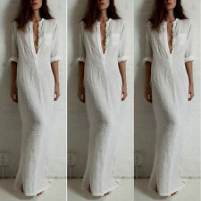 Women Summer Long Maxi BOHO Evening Party Beach Dresses Sundress White #XL VF-A