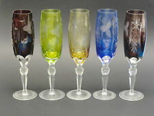 SET of 5 ANTIQUE NACHTMANN TRAUBE BOHEMIAN HAND CUT CHAMPAGNE GLASS FACETED STEM