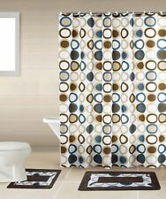 Sami Brown & Blue 15-Piece Bathroom Accessory Set 2 Bath Mats Shower Curtain
