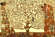 Gustav Klimt The Tree of Life in Brown and Gold Art Poster Print - 19x13