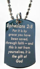 Ephesians 2:8 Biblical Christian Bible Verse  - Dog Tag w/ Metal Chain Necklace