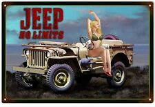 Jeep On Limits Pin Up Girl Garage Art Sign