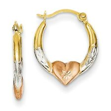 14K Yellow White & Rose Gold Diamond Cut Heart Hinged Post Hoop Earrings