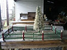 Vtg LARGE Set Metal Fence Two Gates Red & Green Christmas Tree/Train Display
