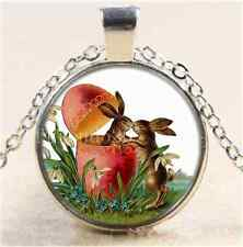 Easter Rabbit Kiss Cabochon Glass Tibet Silver Chain Pendant Necklace