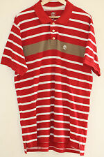 RETRO TIMBERLAND RED OVERSIZED URBAN WAVEY STRIPED POLO T-SHIRT UNISEX MENS L