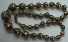 Beautiful Art Deco Wedding Cake Green Murano Glass Bead Necklace