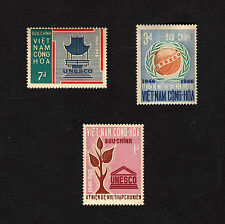 1966 RVN South Vietnam 3 Stamps Full Set The 20th Anniversary of UNESCO