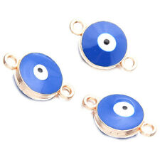 20x Blue&White Enamel Evil Eye Patterns Alloy Connector Pendants Double Holes D