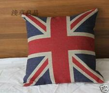 Vintage Country ENGLAND OLD STYLE FLAG NATURAL LINEN CUSHION COVER PILLOW CASE