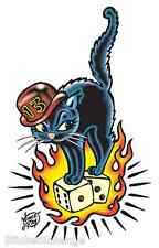 Black Cat On Dice Sticker Decal Poster Vince Ray VR20