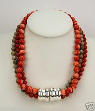 Simon Sebbag Sterling Silver 3 String Multi Coral Beads Necklace NB622/CORM3