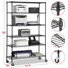 6 Tier Metal Shelf Rack Storage Organizer Garage Office Wire Shelving Holder New
