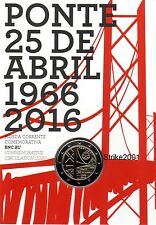 NEW !!! Coin Card Uff. 2 EURO COMMEMORATIVO PORTOGALLO 2016 Ponte 25 Aprile