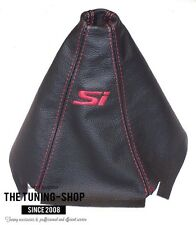 FOR HONDA CIVIC 3D 1995-2000 BLACK LEATHER SHIFT BOOT EMBROIDERY Si RED ST